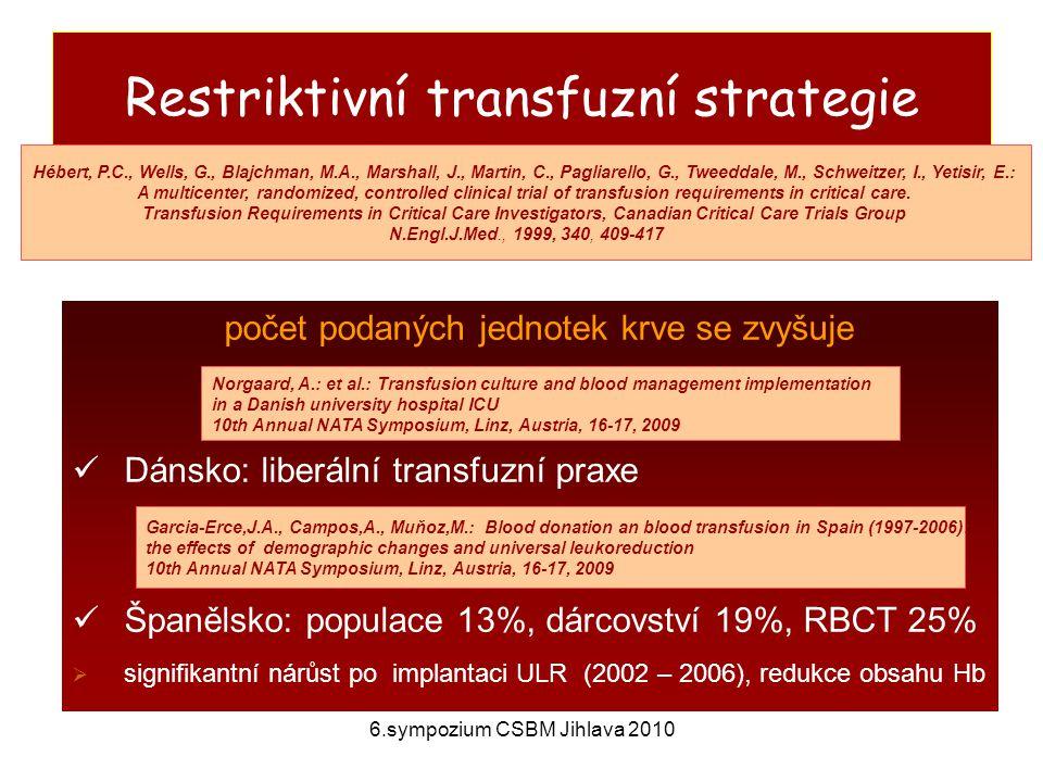 6.sympozium CSBM Jihlava 2010 Klinická manifestace, cíl imunologické reakce cíl: typ reakce erytrocyty hemolytická reakce leukocyty febrilní reakce, plicní infiltráty trombocyty potransfuzní purpura IgA anafylaxe IgG, IgM, IgA kopřivka, horečka