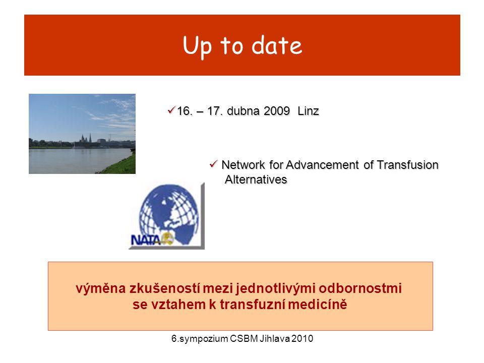 6.sympozium CSBM Jihlava 2010 Stáří krve poslední studie: trauma, RBCs, délka skladování > 28 dní, vyšší výskyt hluboké žilní trombózy a MOF s následkem smrti Spinella,P.C.