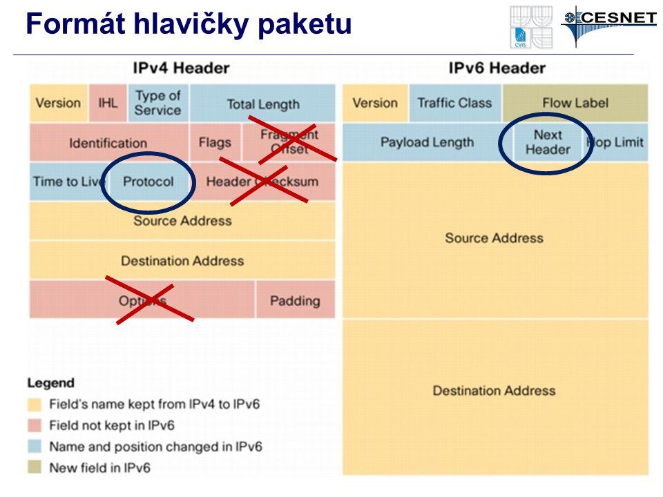 Formát hlavičky paketu Náhodně generované adresy RFC 4941 –Privacy Extensions for Stateless Address Autoconfiguration in IPv6 –Změna adresy klientskéh