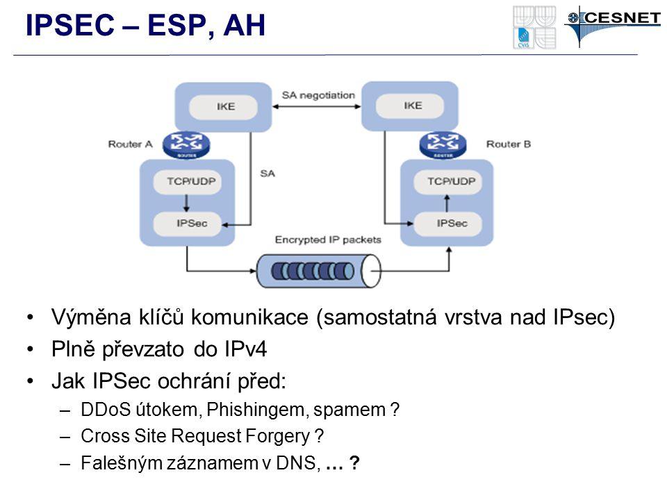 Výměna klíčů komunikace (samostatná vrstva nad IPsec) Plně převzato do IPv4 Jak IPSec ochrání před: –DDoS útokem, Phishingem, spamem ? –Cross Site Req