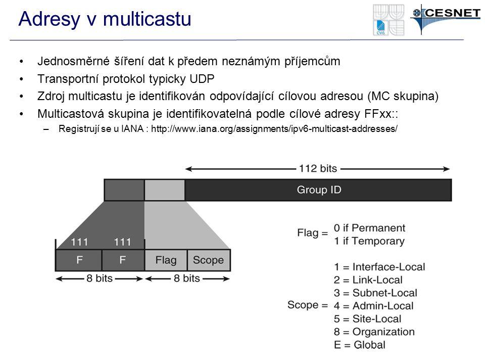 Adresy v multicastu Jednosměrné šíření dat k předem neznámým příjemcům Transportní protokol typicky UDP Zdroj multicastu je identifikován odpovídající