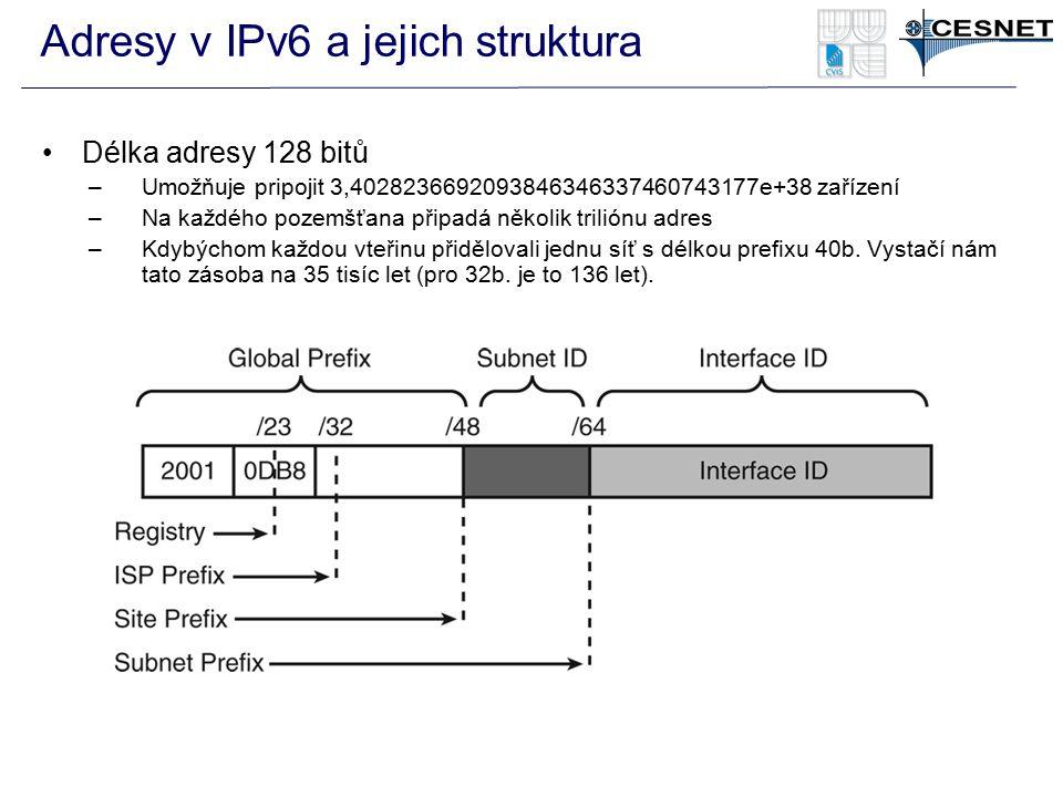 Adresy v IPv6 a jejich struktura Délka adresy 128 bitů –Umožňuje pripojit 3,4028236692093846346337460743177e+38 zařízení –Na každého pozemšťana připad