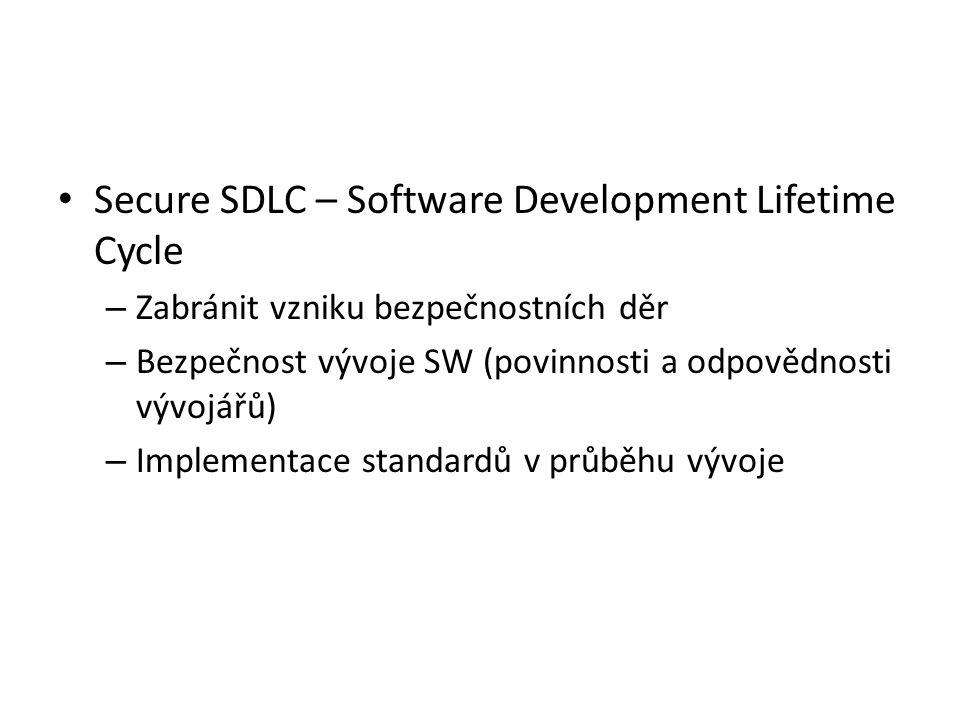 Secure SDLC – Software Development Lifetime Cycle – Zabránit vzniku bezpečnostních děr – Bezpečnost vývoje SW (povinnosti a odpovědnosti vývojářů) – Implementace standardů v průběhu vývoje