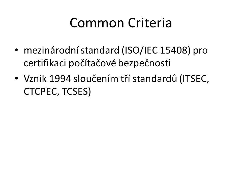 Common Criteria mezinárodní standard (ISO/IEC 15408) pro certifikaci počítačové bezpečnosti Vznik 1994 sloučením tří standardů (ITSEC, CTCPEC, TCSES)