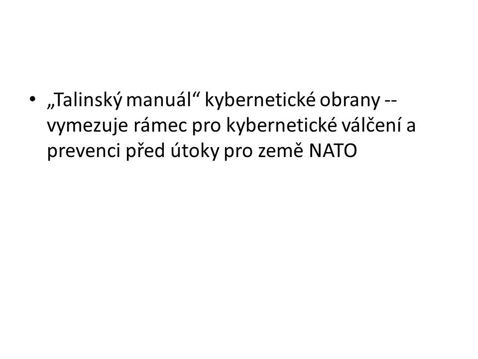 """""""Talinský manuál kybernetické obrany -- vymezuje rámec pro kybernetické válčení a prevenci před útoky pro země NATO"""