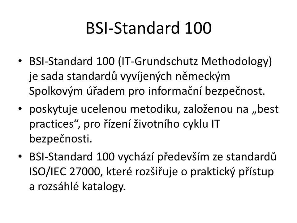 BSI-Standard 100 BSI-Standard 100 (IT-Grundschutz Methodology) je sada standardů vyvíjených německým Spolkovým úřadem pro informační bezpečnost.