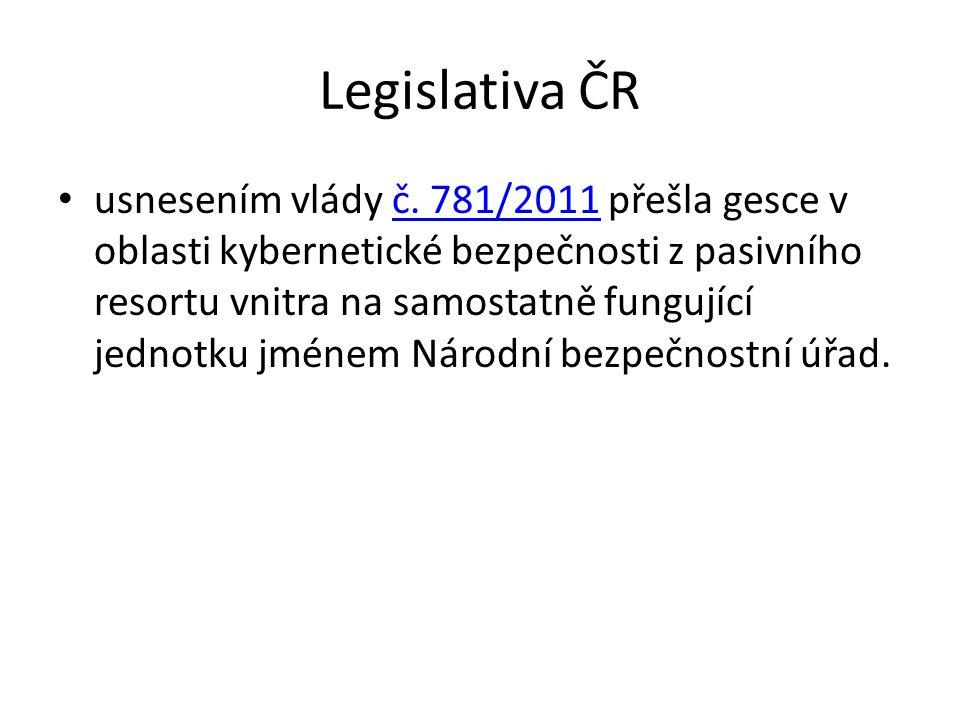 Legislativa ČR usnesením vlády č.