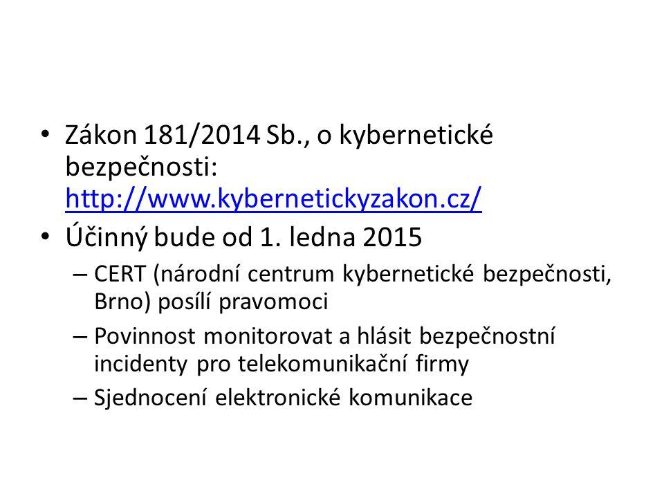 Zákon 181/2014 Sb., o kybernetické bezpečnosti: http://www.kybernetickyzakon.cz/ http://www.kybernetickyzakon.cz/ Účinný bude od 1.