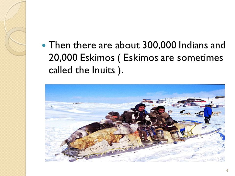 Then there are about 300,000 Indians and 20,000 Eskimos ( Eskimos are sometimes called the Inuits ).