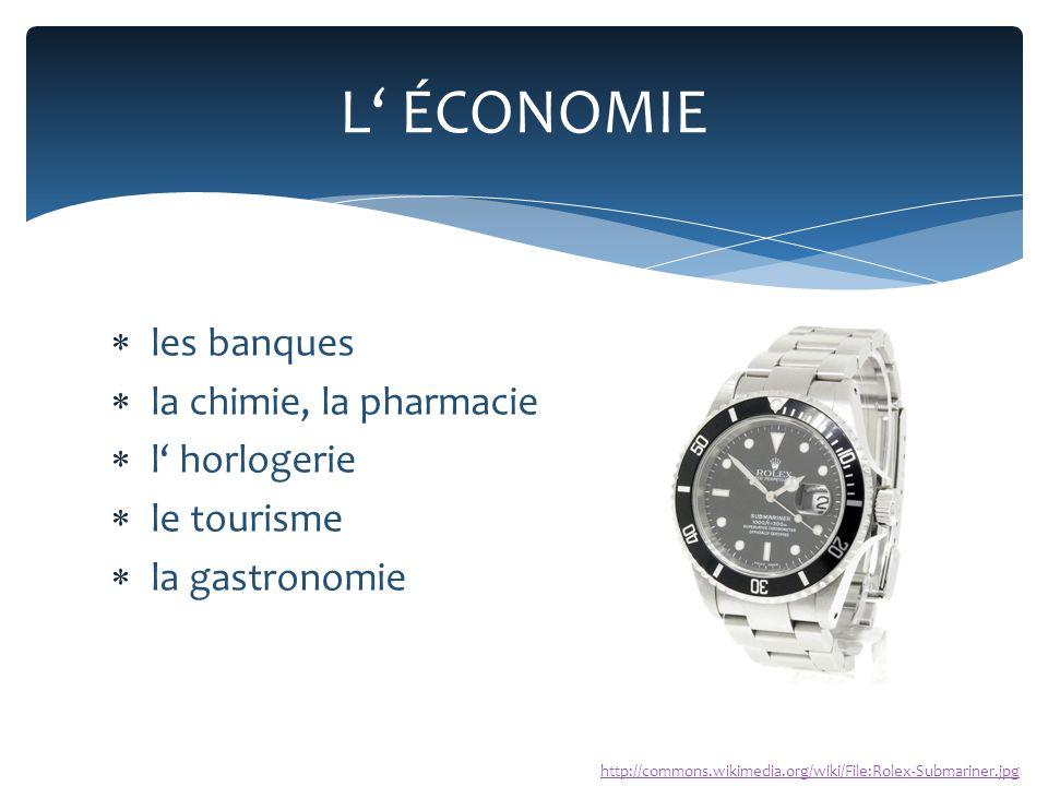  les banques  la chimie, la pharmacie  l' horlogerie  le tourisme  la gastronomie L' ÉCONOMIE http://commons.wikimedia.org/wiki/File:Rolex-Submariner.jpg