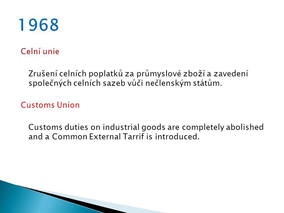 Celní unie Zrušení celních poplatků za průmyslové zboží a zavedení společných celních sazeb vůči nečlenským státům.