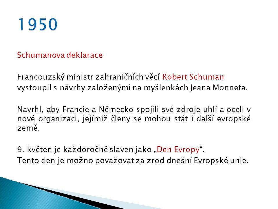 Schumanova deklarace Francouzský ministr zahraničních věcí Robert Schuman vystoupil s návrhy založenými na myšlenkách Jeana Monneta.