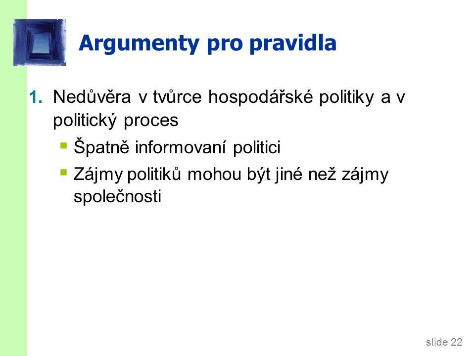 slide 22 Argumenty pro pravidla 1.