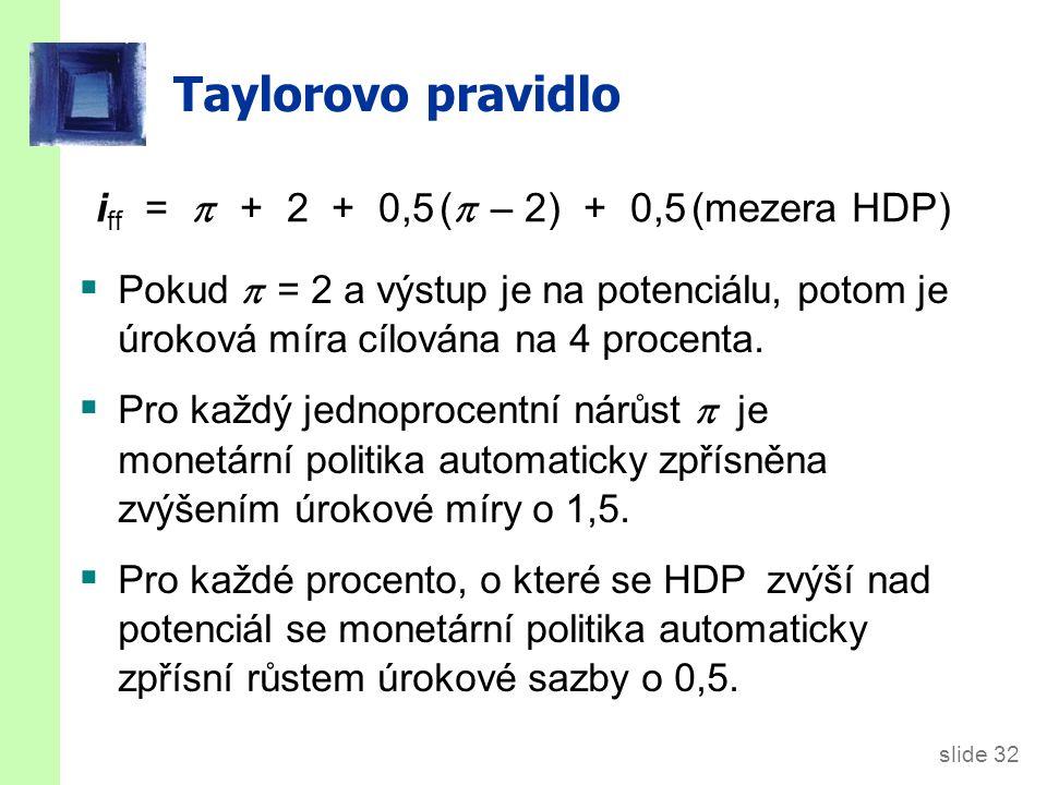 slide 32 Taylorovo pravidlo i ff =  + 2 + 0,5 (  – 2) + 0,5 (mezera HDP)  Pokud  = 2 a výstup je na potenciálu, potom je úroková míra cílována na 4 procenta.