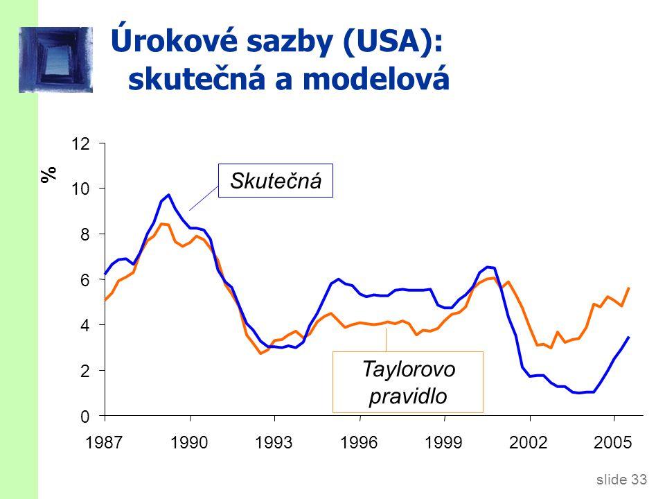 slide 33 Úrokové sazby (USA): skutečná a modelová % 0 2 4 6 8 10 12 1987199019931996199920022005 Taylorovo pravidlo Skutečná