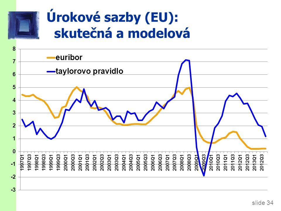 slide 34 Úrokové sazby (EU): skutečná a modelová