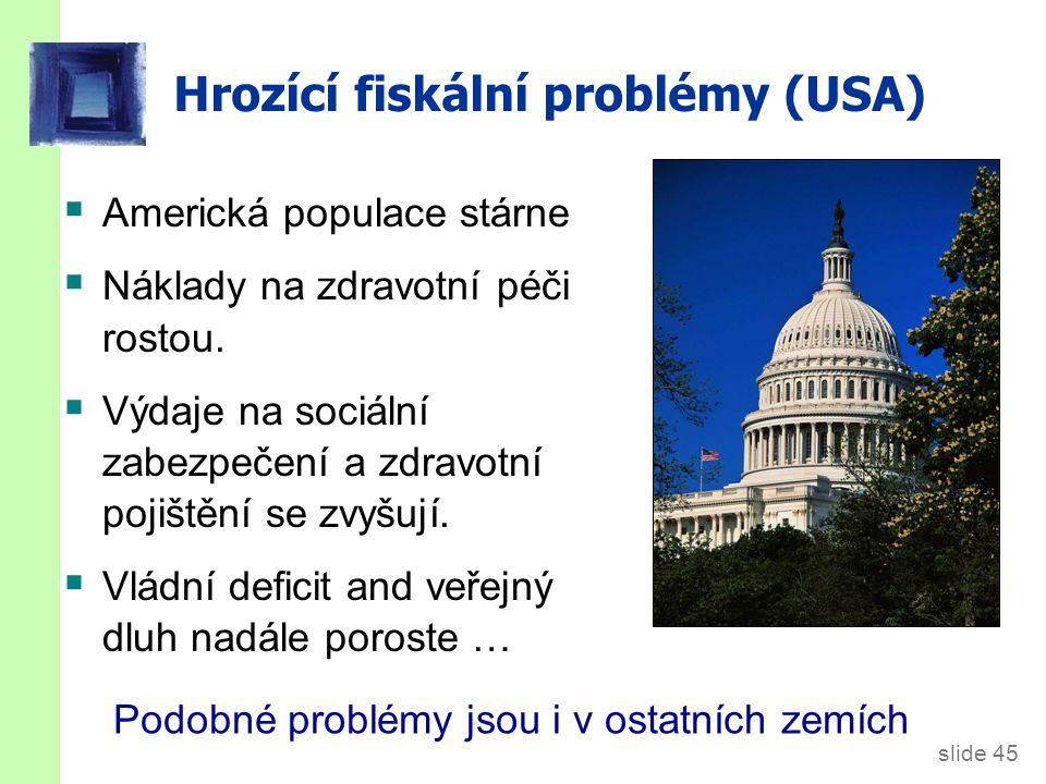 slide 45 Hrozící fiskální problémy (USA)  Americká populace stárne  Náklady na zdravotní péči rostou.