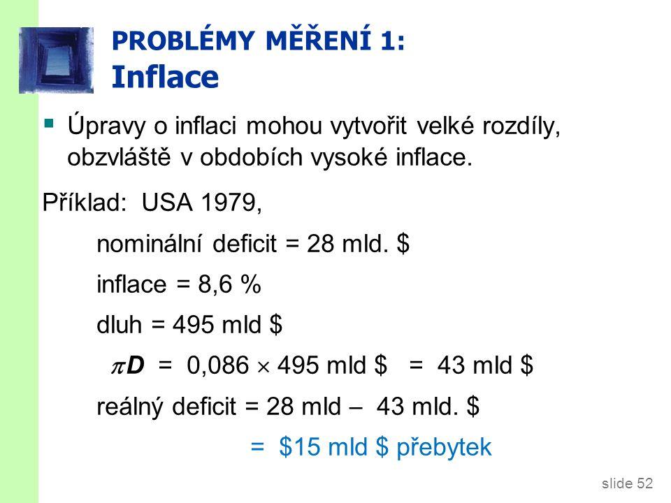 slide 52 PROBLÉMY MĚŘENÍ 1: Inflace  Úpravy o inflaci mohou vytvořit velké rozdíly, obzvláště v obdobích vysoké inflace.