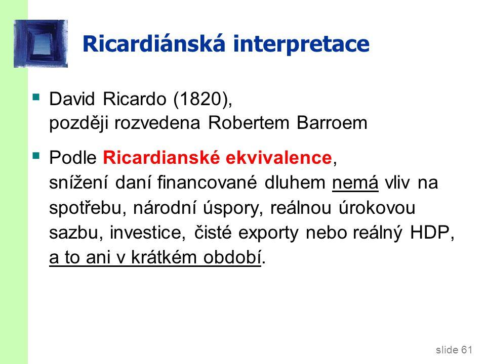 slide 61 Ricardiánská interpretace  David Ricardo (1820), později rozvedena Robertem Barroem  Podle Ricardianské ekvivalence, snížení daní financované dluhem nemá vliv na spotřebu, národní úspory, reálnou úrokovou sazbu, investice, čisté exporty nebo reálný HDP, a to ani v krátkém období.