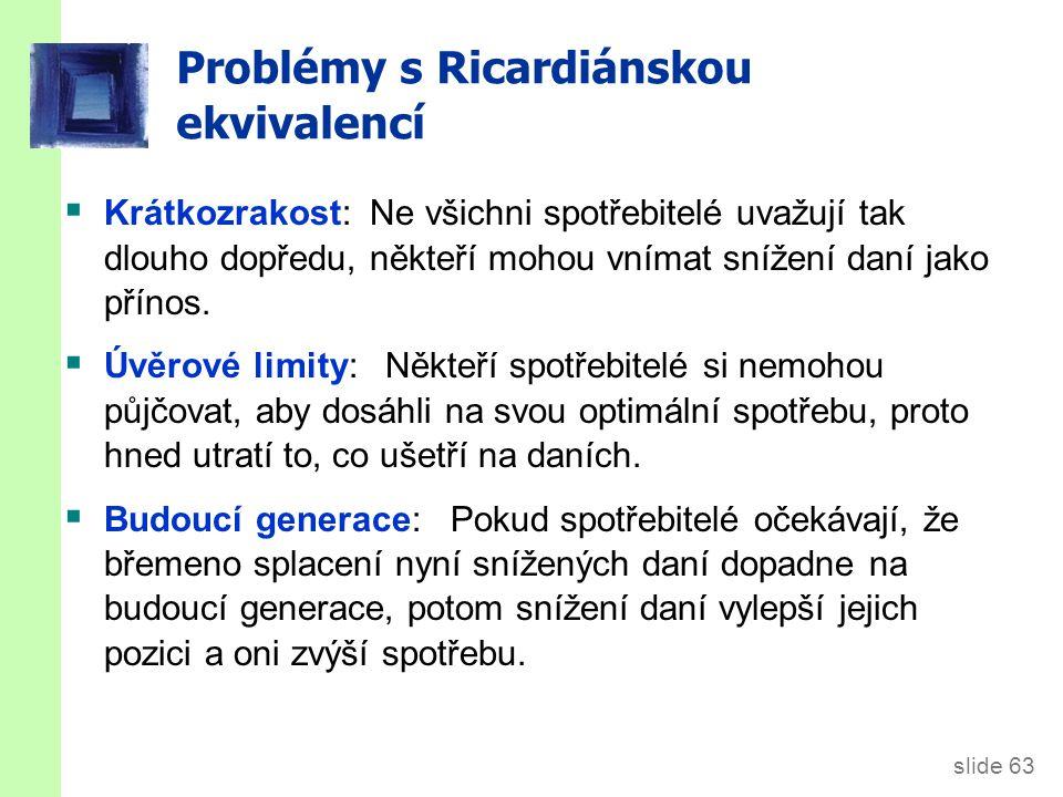 slide 63 Problémy s Ricardiánskou ekvivalencí  Krátkozrakost: Ne všichni spotřebitelé uvažují tak dlouho dopředu, někteří mohou vnímat snížení daní jako přínos.