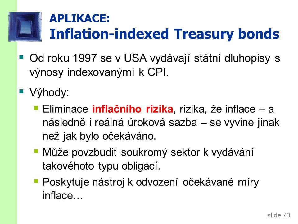 slide 70 APLIKACE: Inflation-indexed Treasury bonds  Od roku 1997 se v USA vydávají státní dluhopisy s výnosy indexovanými k CPI.  Výhody:  Elimina