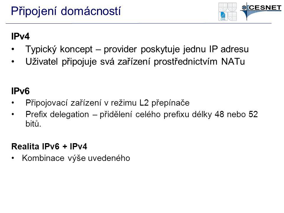IPv4 Typický koncept – provider poskytuje jednu IP adresu Uživatel připojuje svá zařízení prostřednictvím NATu IPv6 Připojovací zařízení v režimu L2 p
