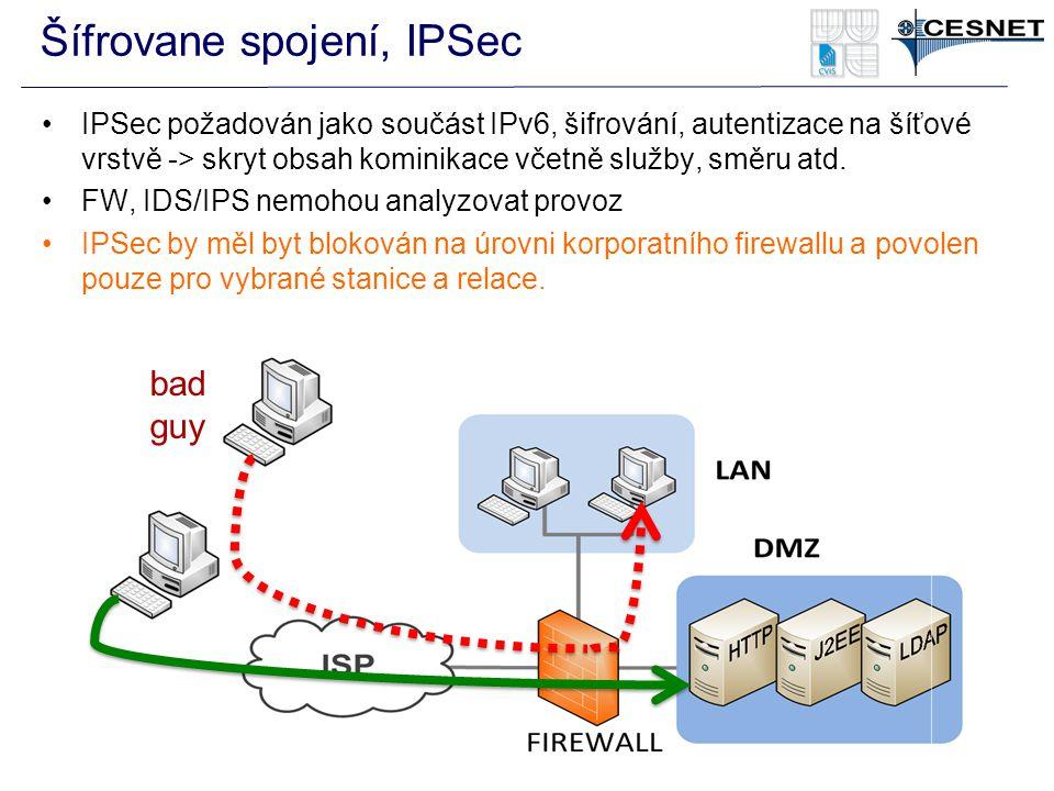 Šífrovane spojení, IPSec IPSec požadován jako součást IPv6, šifrování, autentizace na šíťové vrstvě -> skryt obsah kominikace včetně služby, směru atd