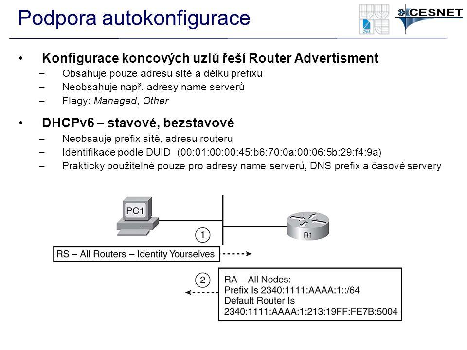 Podpora autokonfigurace Konfigurace koncových uzlů řeší Router Advertisment –Obsahuje pouze adresu sítě a délku prefixu –Neobsahuje např. adresy name