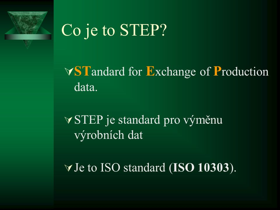 Co je to STEP. ST andard for E xchange of P roduction data.
