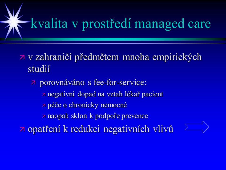 kvalita v prostředí managed care ä v zahraničí předmětem mnoha empirických studií ä porovnáváno s fee-for-service: ä negativní dopad na vztah lékař pa