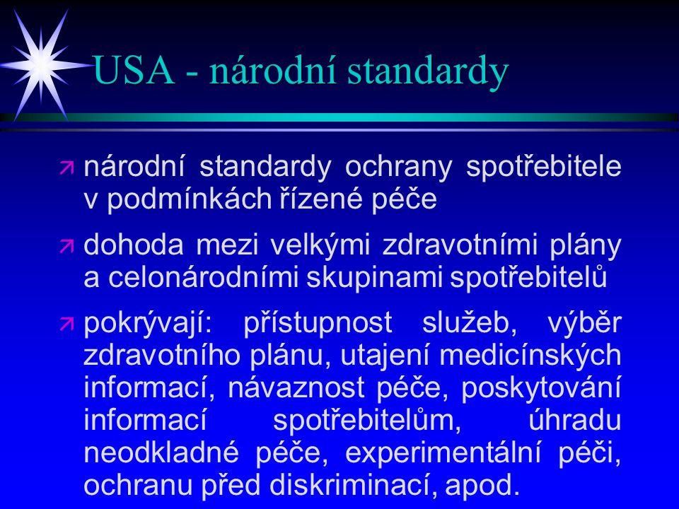 USA - národní standardy   národní standardy ochrany spotřebitele v podmínkách řízené péče   dohoda mezi velkými zdravotními plány a celonárodními