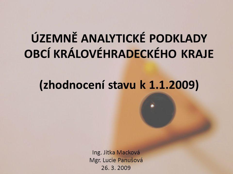 ÚZEMNĚ ANALYTICKÉ PODKLADY OBCÍ KRÁLOVÉHRADECKÉHO KRAJE (zhodnocení stavu k 1.1.2009) Ing. Jitka Macková Mgr. Lucie Panušová 26. 3. 2009