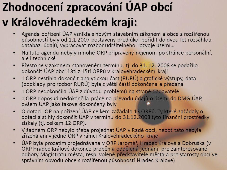 Zhodnocení zpracování ÚAP obcí v Královéhradeckém kraji: Agenda pořízení ÚAP vznikla s novým stavebním zákonem a obce s rozšířenou působností byly od 1.1.2007 postaveny před úkol pořídit do dvou let rozsáhlou databázi údajů, vypracovat rozbor udržitelného rozvoje území… Na tuto agendu nebyly mnohé ORP připraveny nejenom po stránce personální, ale i technické Přesto se v zákonem stanoveném termínu, tj.