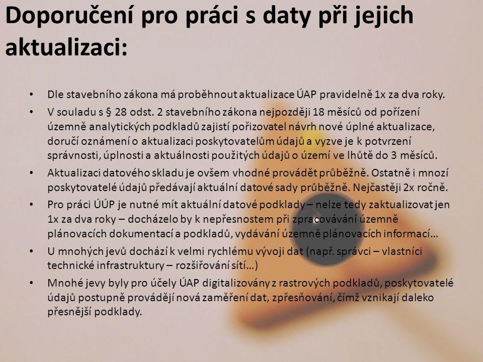 Doporučení pro práci s daty při jejich aktualizaci: Dle stavebního zákona má proběhnout aktualizace ÚAP pravidelně 1x za dva roky.