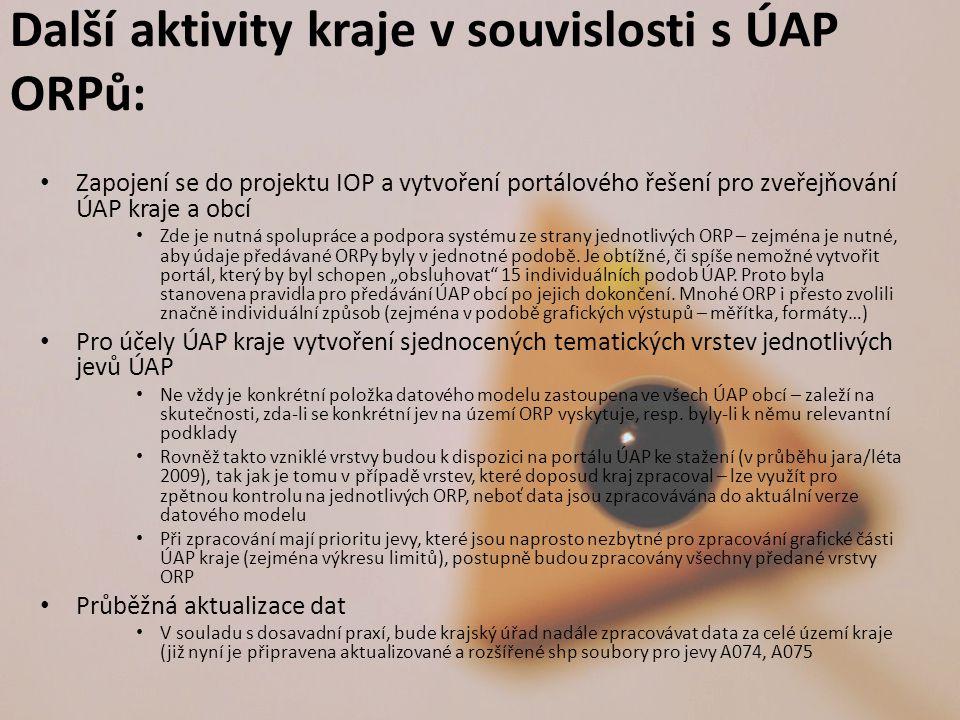 Další aktivity kraje v souvislosti s ÚAP ORPů: Zapojení se do projektu IOP a vytvoření portálového řešení pro zveřejňování ÚAP kraje a obcí Zde je nutná spolupráce a podpora systému ze strany jednotlivých ORP – zejména je nutné, aby údaje předávané ORPy byly v jednotné podobě.