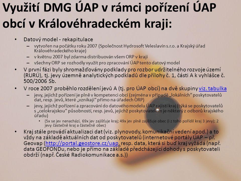 Využití DMG ÚAP v rámci pořízení ÚAP obcí v Královéhradeckém kraji: Datový model - rekapitulace – vytvořen na počátku roku 2007 (Společnost Hydrosoft