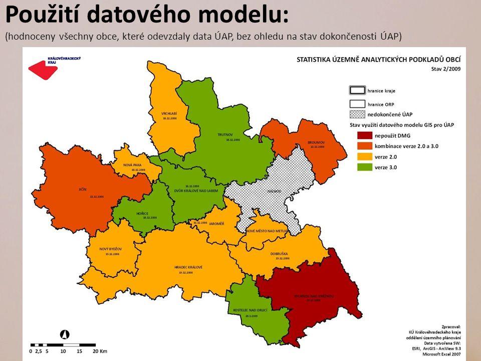 Použití datového modelu: (hodnoceny všechny obce, které odevzdaly data ÚAP, bez ohledu na stav dokončenosti ÚAP)