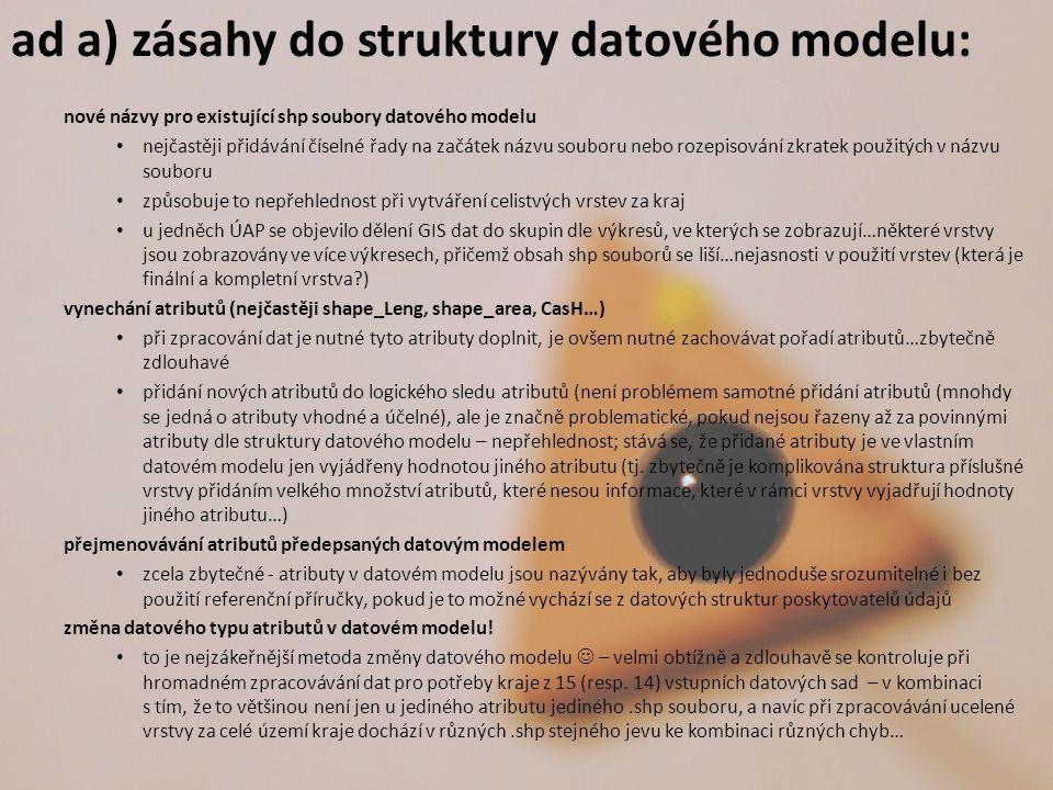 ad a) zásahy do struktury datového modelu: nové názvy pro existující shp soubory datového modelu nejčastěji přidávání číselné řady na začátek názvu so