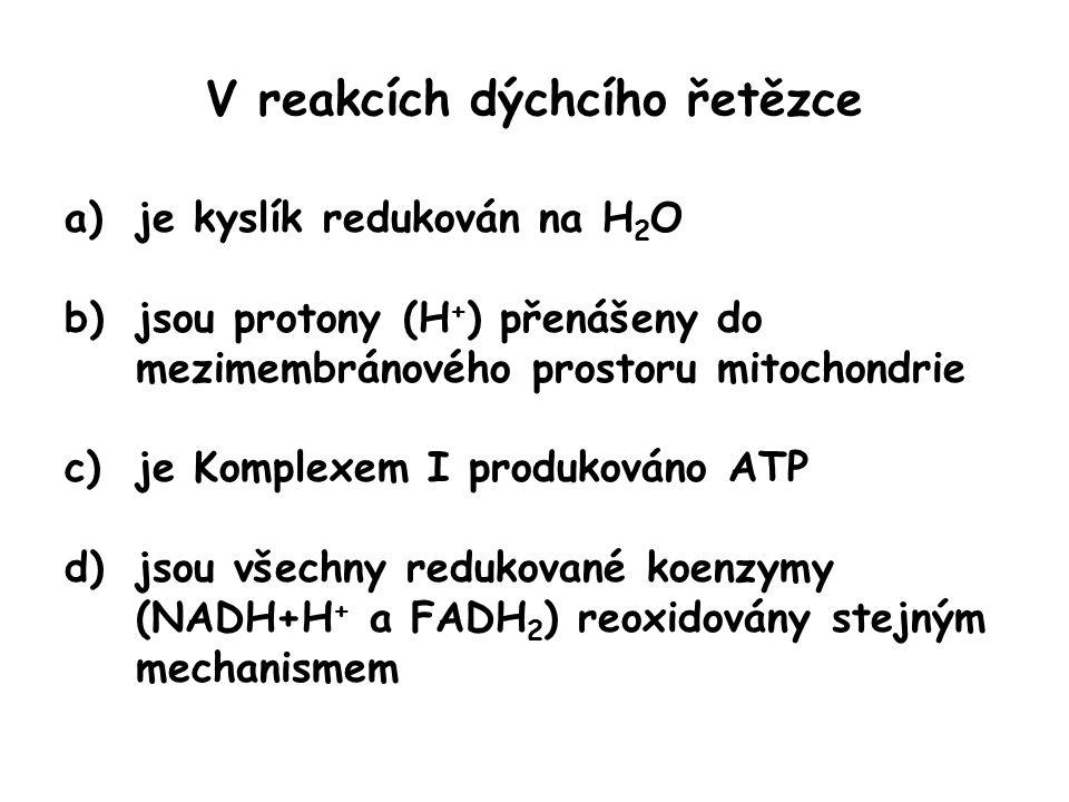 V reakcích dýchcího řetězce a)je kyslík redukován na H 2 O b)jsou protony (H + ) přenášeny do mezimembránového prostoru mitochondrie c)je Komplexem I