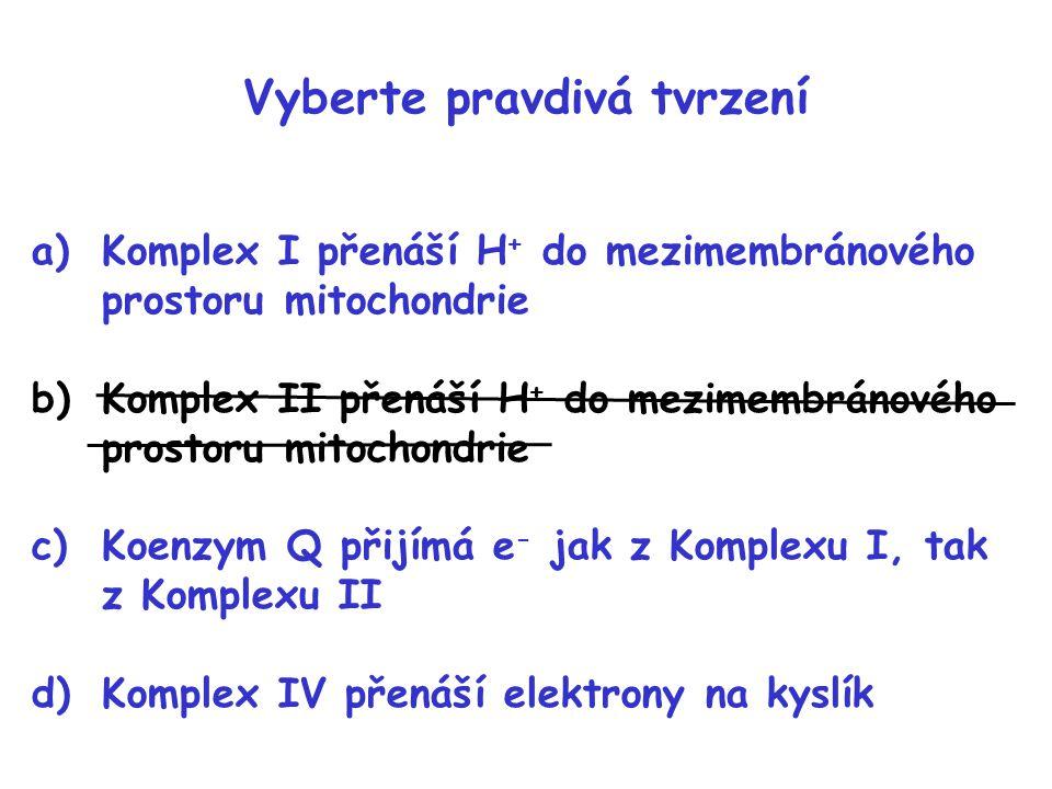 Vyberte pravdivá tvrzení a)Komplex I přenáší H + do mezimembránového prostoru mitochondrie b)Komplex II přenáší H + do mezimembránového prostoru mitoc