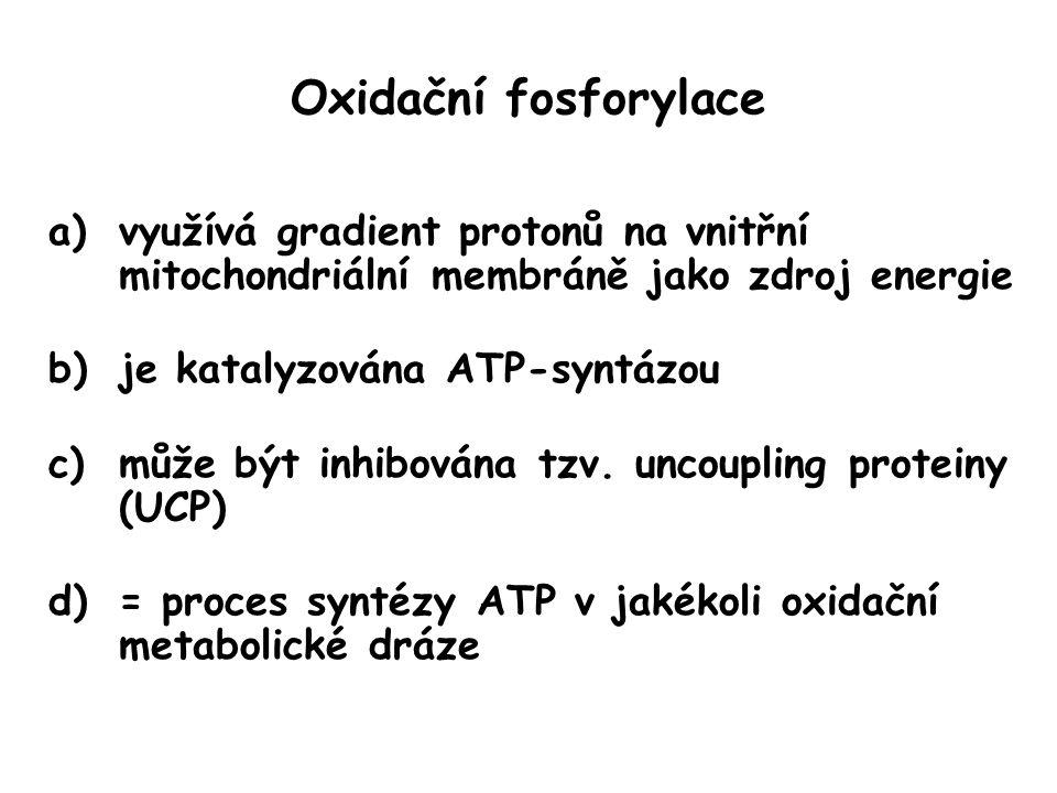 Oxidační fosforylace a)využívá gradient protonů na vnitřní mitochondriální membráně jako zdroj energie b)je katalyzována ATP-syntázou c)může být inhib