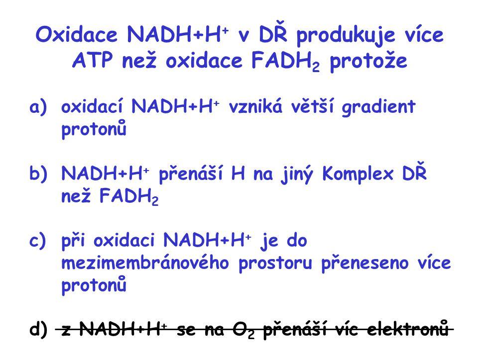 Oxidace NADH+H + v DŘ produkuje více ATP než oxidace FADH 2 protože a)oxidací NADH+H + vzniká větší gradient protonů b)NADH+H + přenáší H na jiný Komp