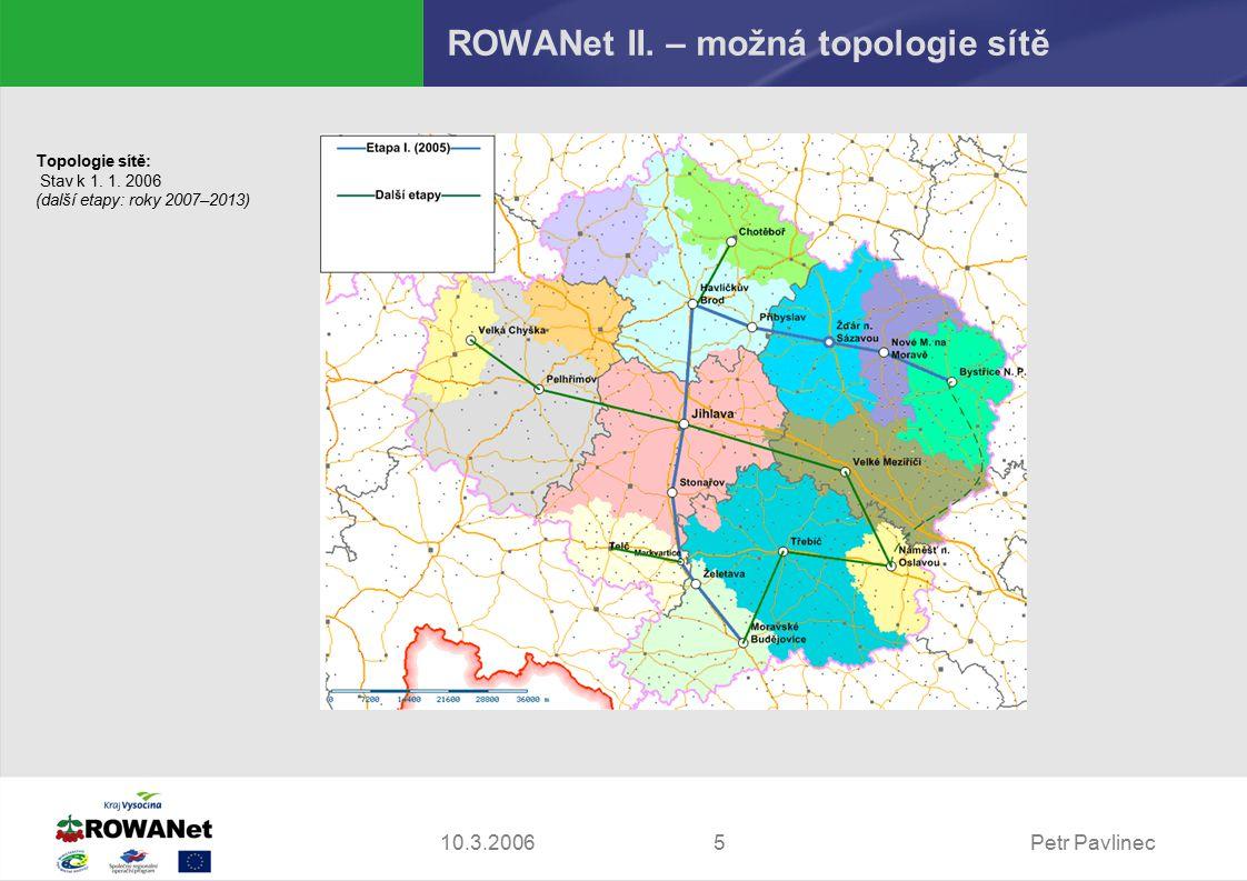 Petr Pavlinec510.3.2006 ROWANet II. – možná topologie sítě Topologie sítě: Stav k 1.