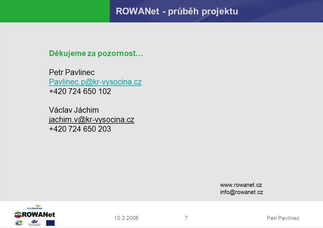 Petr Pavlinec710.3.2006 ROWANet - průběh projektu Děkujeme za pozornost… Petr Pavlinec Pavlinec.p@kr-vysocina.cz +420 724 650 102 Václav Jáchim jachim.v@kr-vysocina.cz +420 724 650 203 www.rowanet.cz info@rowanet.cz
