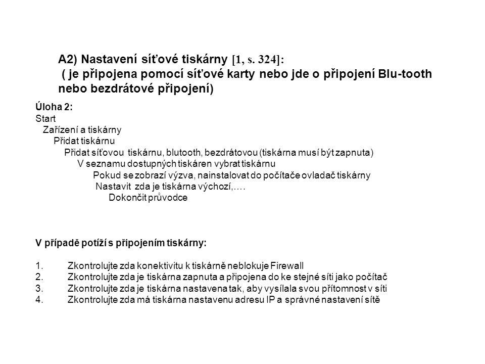 A2) Nastavení síťové tiskárny [1, s.