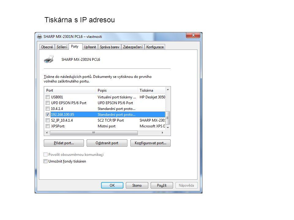 Tiskárna s IP adresou