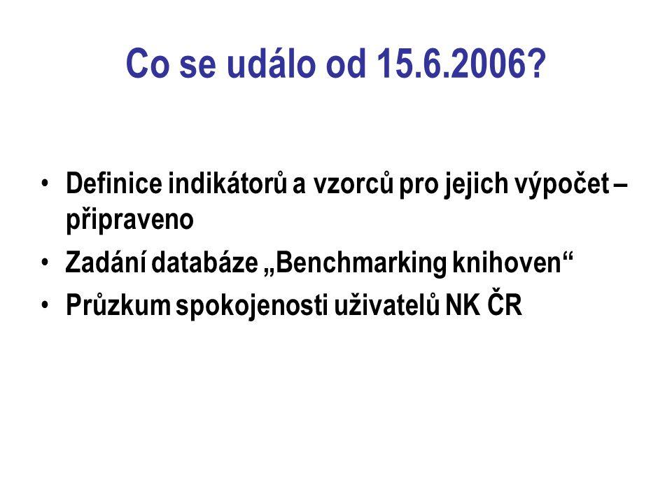 """Co se událo od 15.6.2006? Definice indikátorů a vzorců pro jejich výpočet – připraveno Zadání databáze """"Benchmarking knihoven"""" Průzkum spokojenosti už"""