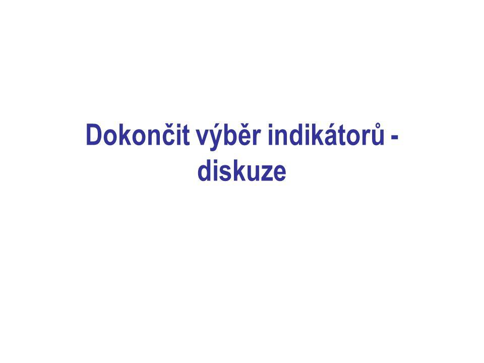 Zatím nerealizované indikátory 1.Internetové služby: webová stránka, OPAC, interaktivní funkce, soubor odkazů, virtuální informační služba, elektronické informační zdroje, pro-aktivní informační služby (email, SMS, newsletter) 2.Registrovaní čtenáři do 15 let – % z obyvatel do 14 let 3.Počet virtuálních návštěv na obyvatele 4.Průměrný čas zpracování dokumentu 5.Vzdělávací a výchovné (kulturní??) kolektivní akce na 1000 obyvatel 6.Podíl financování knihovny na rozpočtu obce 7.% získanýchl dotací, grantů, vlastních příjmů na celkovém rozpočtu knihovny z celkových příjmů na provoz 8.Počet hodin dalšího vzdělávání na 1 odborného pracovníka 9.Průzkum spokojenosti uživatelů