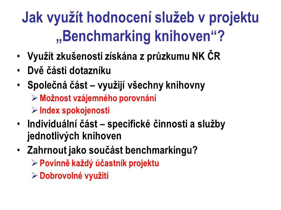 """Jak využít hodnocení služeb v projektu """"Benchmarking knihoven ."""