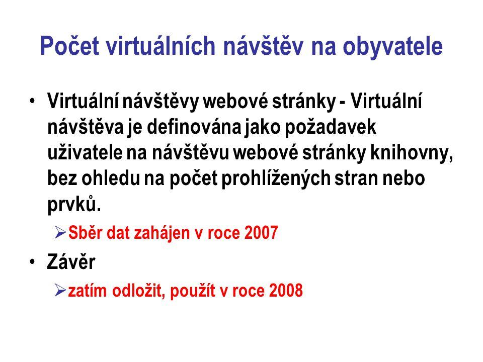 Počet virtuálních návštěv na obyvatele Virtuální návštěvy webové stránky - Virtuální návštěva je definována jako požadavek uživatele na návštěvu webové stránky knihovny, bez ohledu na počet prohlížených stran nebo prvků.